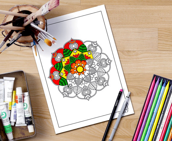 half colored mandala coloring page