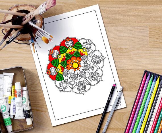 half colored mandala coloring page