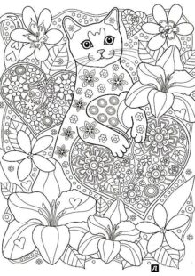 Cats coloring pages for adult 1