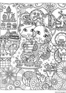 Cats coloring pages for adult 6
