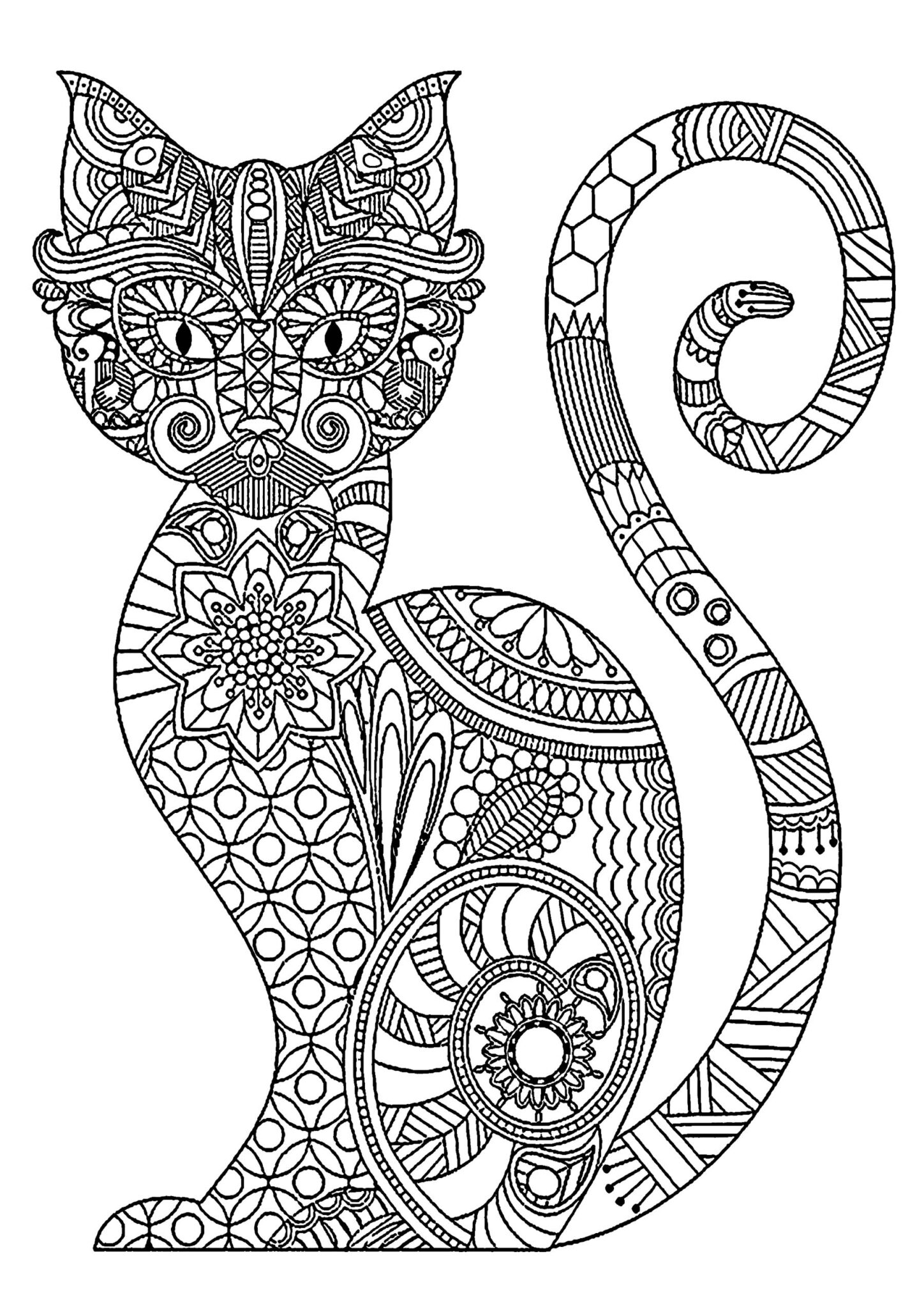 Cats coloring pages for adult