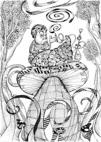 Free Alice In Wonderland Coloring Pages - Coloring Home | 500x354