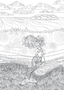 Mermaids Coloring Pages for Adults 1