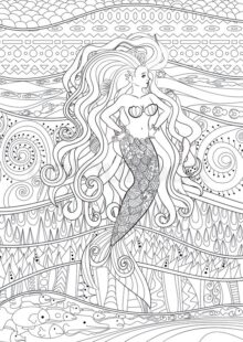 Mermaids Coloring Pages for Adults 2