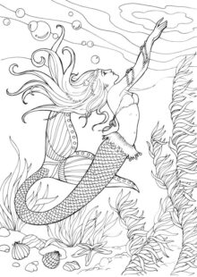 Mermaids Coloring Pages for Adults 4