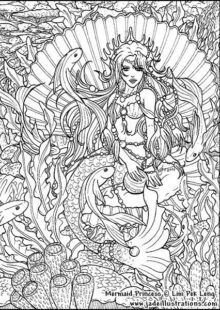 Mermaids Coloring Pages for Adults 5