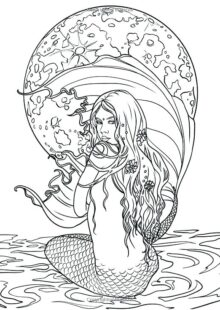 Mermaids Coloring Pages for Adults 6
