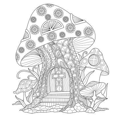 Mushrooms Coloring Book AdultcoloringbookZ