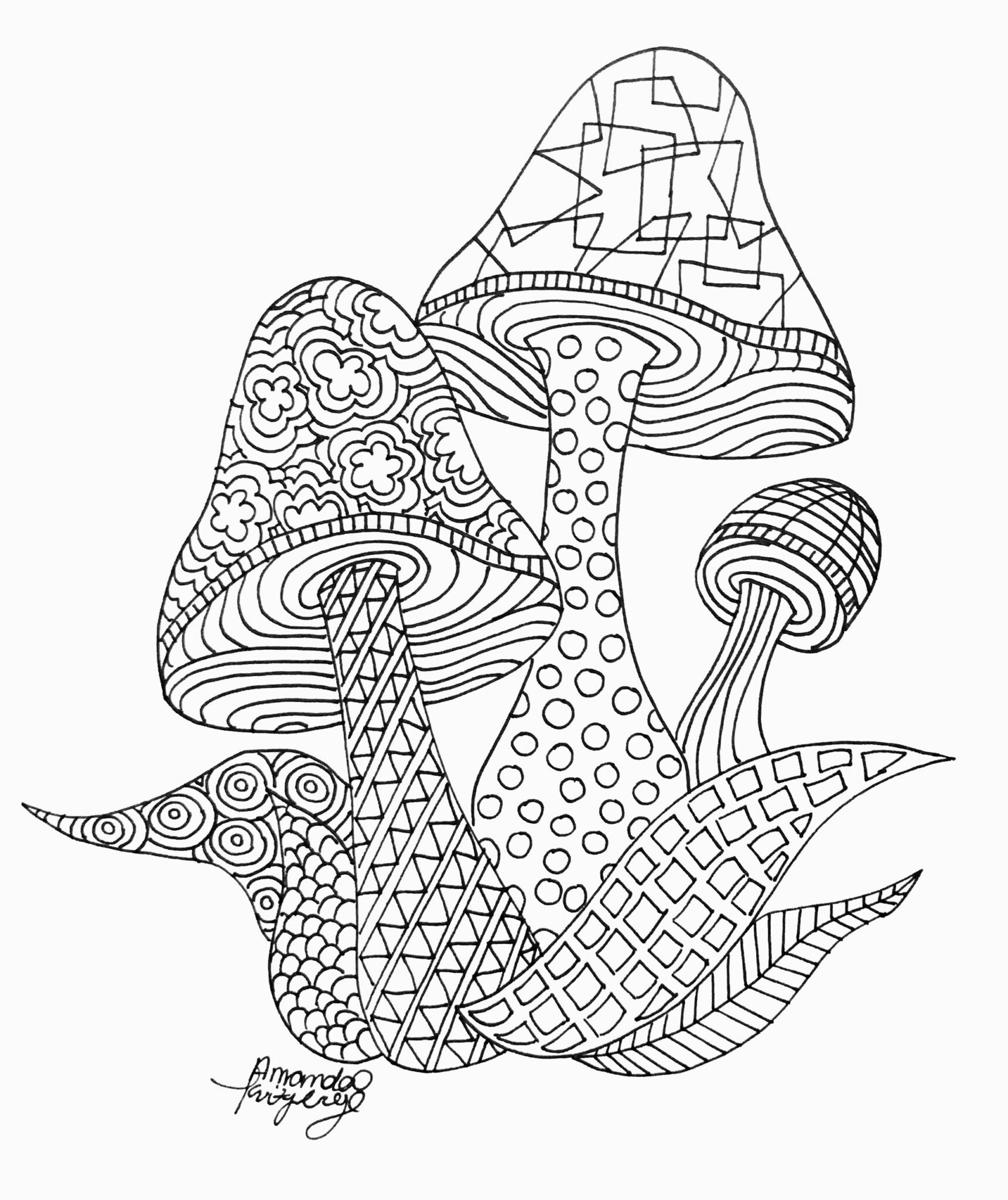 mushrooms coloring pages 8