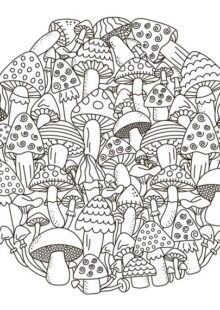 mushrooms coloring pages 9